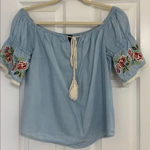 Blue Chambray Off The Shoulder Embroidered Top
